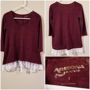 Wine red sweater w/ lace detail & 3/4 sleeves